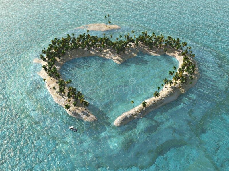 Heart-shaped tropische Insel stockbild