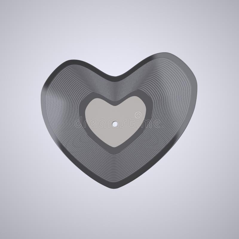 Heart shaped Vinyl record (Popular Music Concept) stock illustration