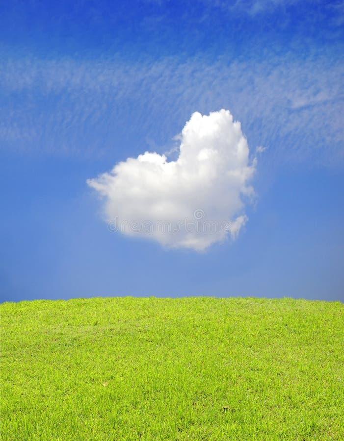 Heart shapes cloud on blue sky stock photos