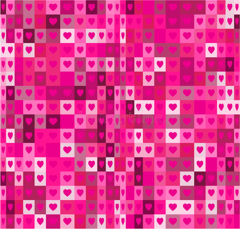 Heart shapes and squares seamless geometrical pattern. Pink abstract background. stock illustration