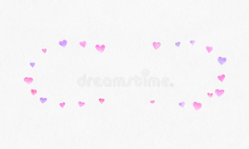 Heart shapes watercolor background. Romantic Confetti splash.Falling red and pink paper hearts. Greeting wedding card. stock image