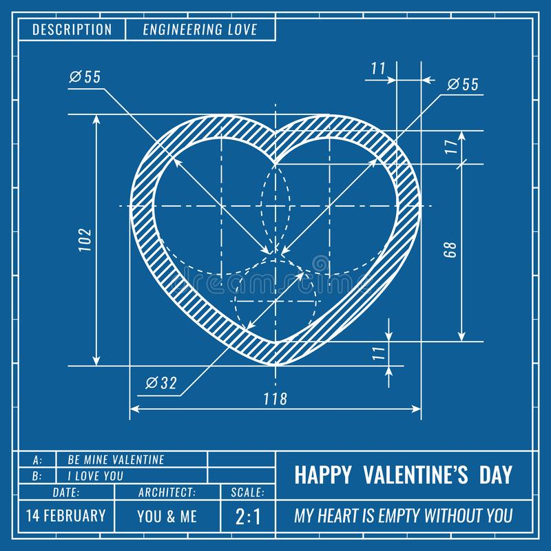 Heart sign as technical blueprint drawing. Valentines day technical concept. Mechanical engineering drawings. Valentines royalty free illustration