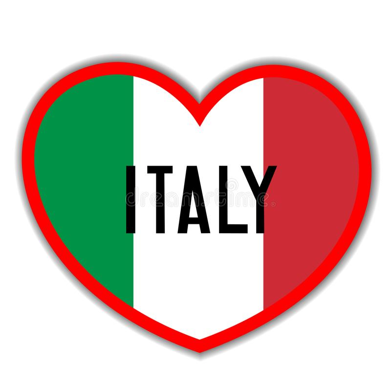 Heart sign with the Italian flag I love Italy vector illustration