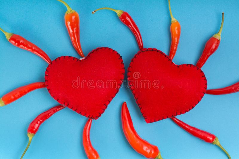 Heart sign with red pepper royalty free stock image