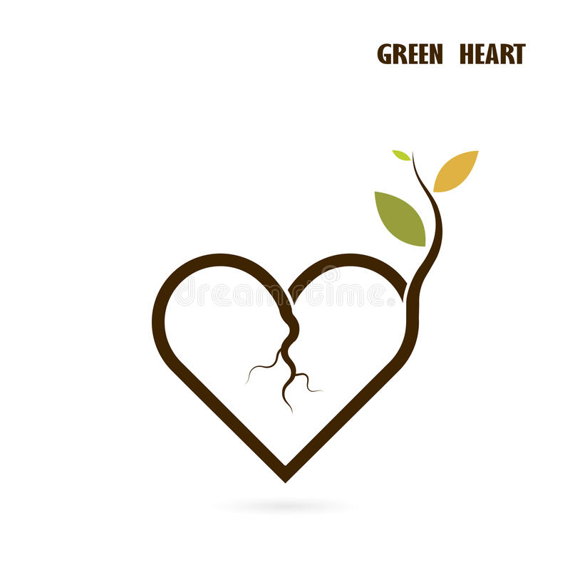 Heart sign and small tree icon with Green concept.Love nature cr vector illustration