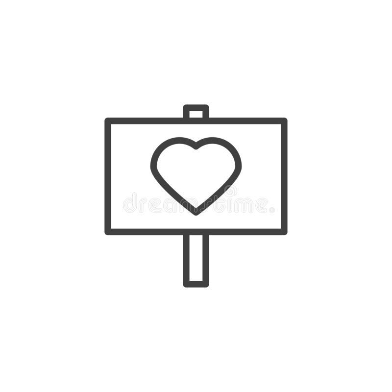 Heart signboard line icon. Linear style sign for mobile concept and web design. Love peace outline vector icon. Valentine day symbol, logo illustration. Vector royalty free illustration