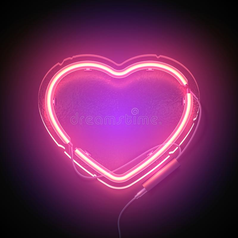 Heart signboard neon2. Bright heart. Neon sign. Retro neon heart signboard with word Love on purple background. Design element for Happy Valentine`s Day. Ready royalty free illustration