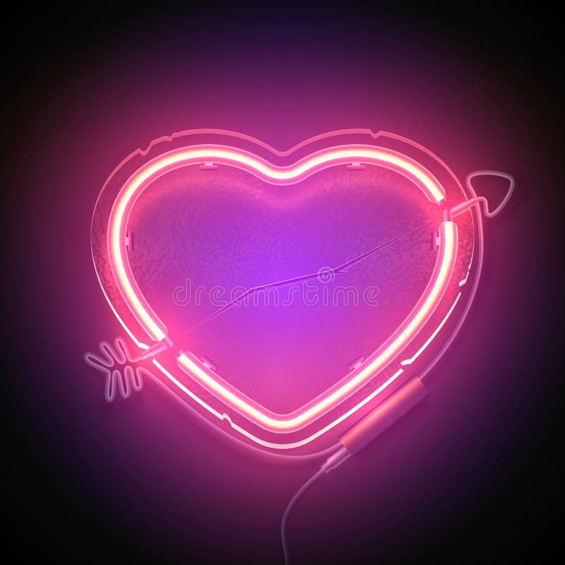 Heart signboard neon3. Bright heart. Neon sign. Retro neon heart signboard with word Love on purple background. Design element for Happy Valentine`s Day. Ready stock illustration