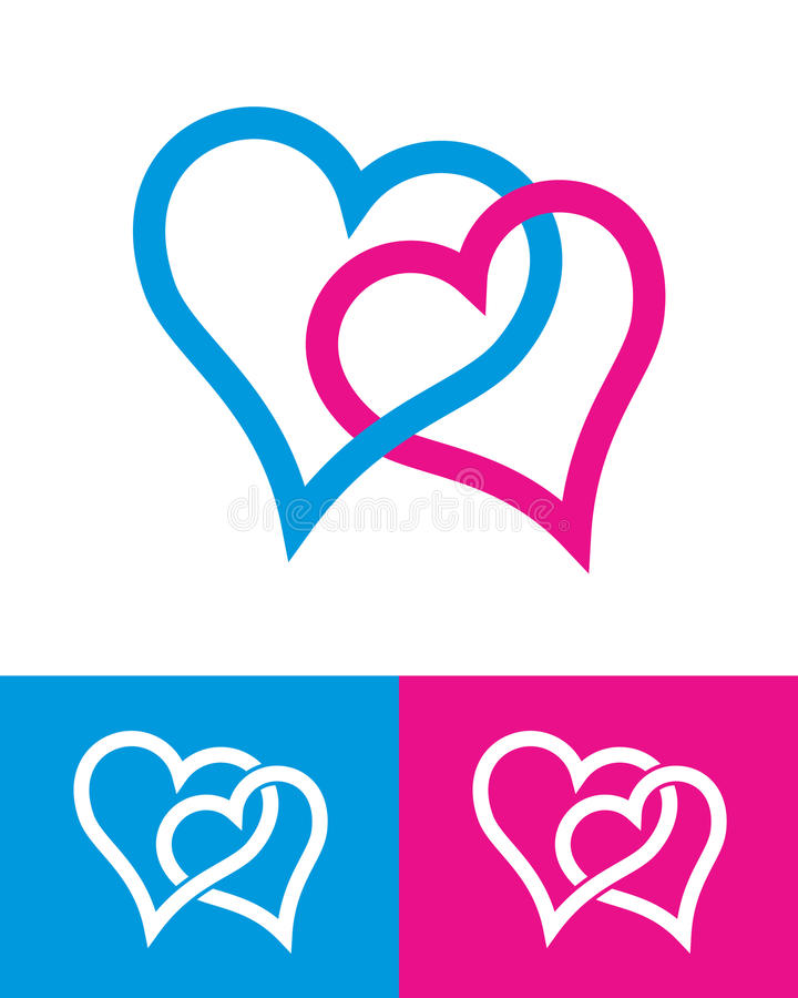 Heart signs. Two multicolor hearts on white (vector royalty free illustration