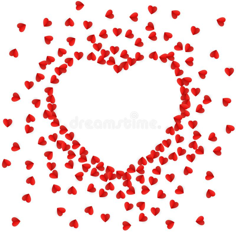 Heart silhouette lined with paper hearts. Happy Valentine`s Day greeting card background. Vector illustration.  stock illustration