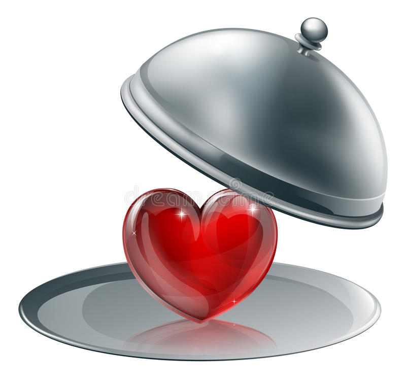 Download Heart on a silver platter stock vector. Image of dome - 26231752