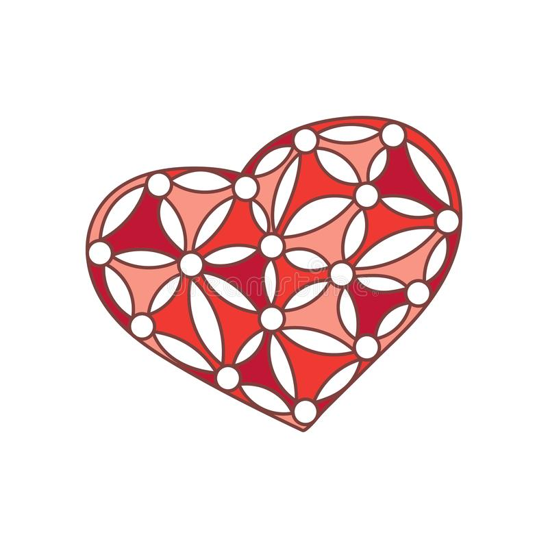 Heart with a simple floral pattern. Hand-drawn decorative Design elements. Vector illustration of Valentine`s Day and other. Holiday royalty free illustration