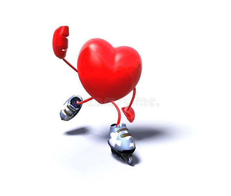 Heart skating vector illustration