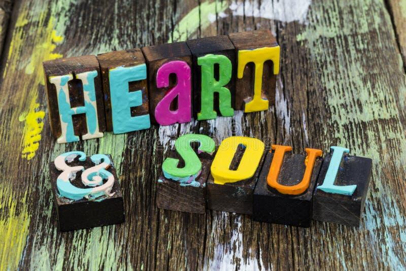 Heart soul beauty emotion music romance love spirit passion. Heart soul beauty emotion music romance love body spirit passion typography quote letter words stock photo