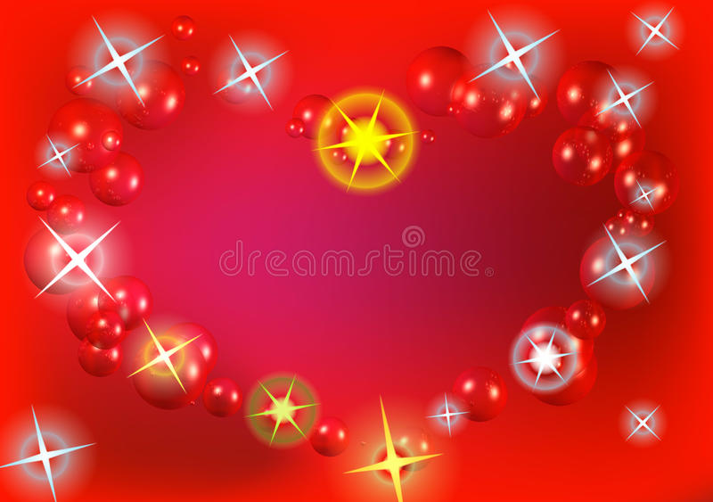 Heart by sparkle star with shiny bubble stock image