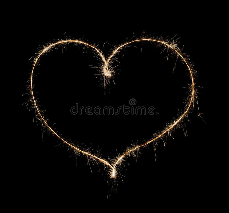 Heart from sparkler stock images