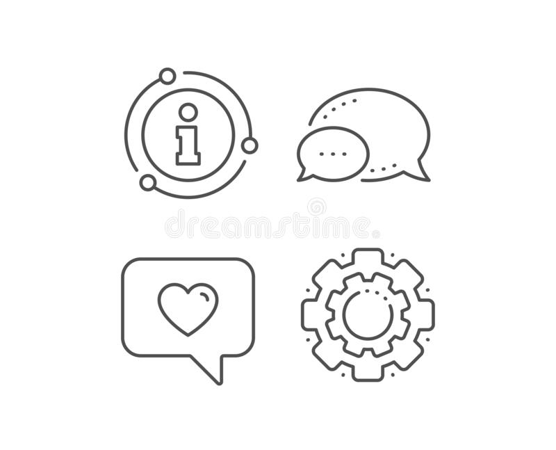 Heart in Speech bubble icon. Love symbol. Vector. Heart in Speech bubble line icon. Chat bubble, info sign elements. Love chat symbol. Valentines day royalty free illustration