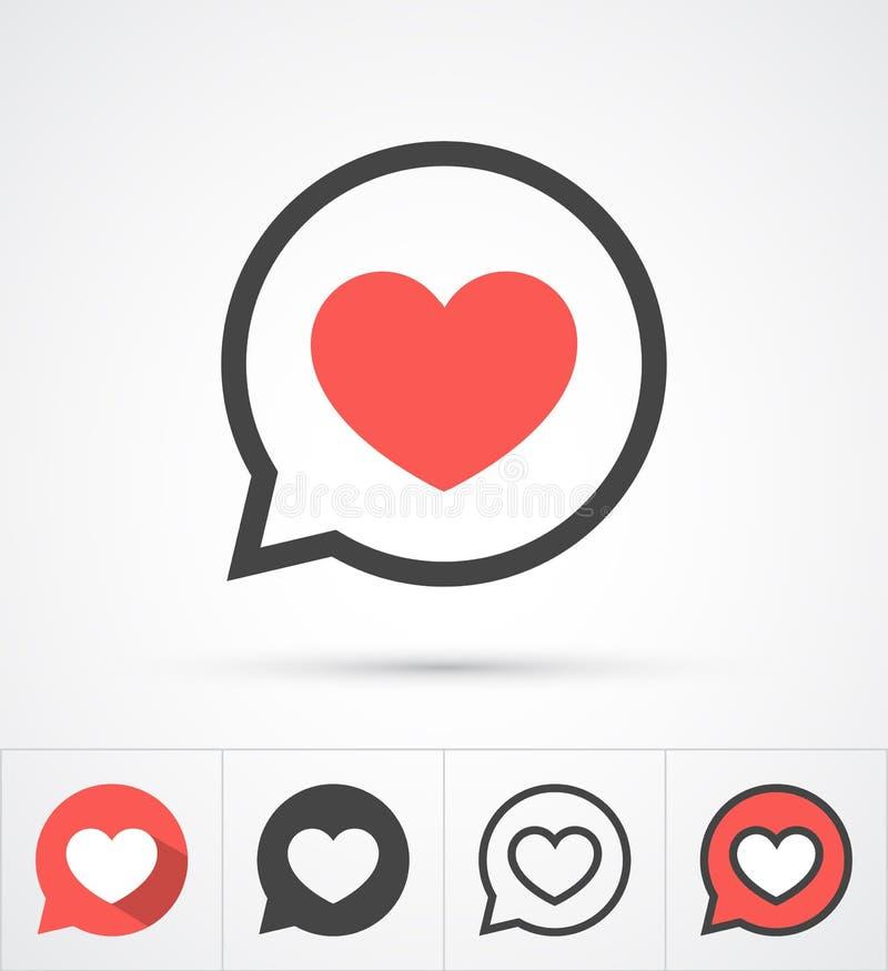 Heart in speech bubble icon. Vector royalty free illustration