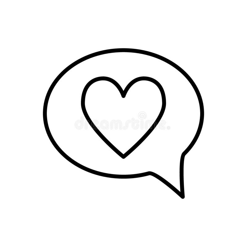 Heart in speech bubble line icon. Love message vector illustration isolated on white. Romantic chat outline style design. Designed for web and app. Eps 10 stock illustration