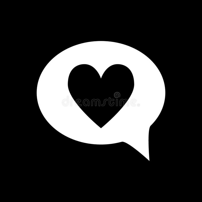 Heart in speech bubble solid icon. Love message vector illustration isolated on black. Romantic chat glyph style design. Designed for web and app. Eps 10 vector illustration