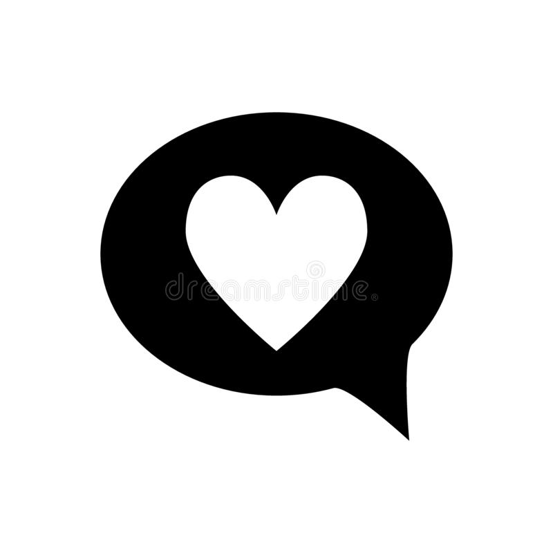 Heart in speech bubble solid icon. Love message vector illustration isolated on white. Romantic chat glyph style design. Designed for web and app. Eps 10 vector illustration