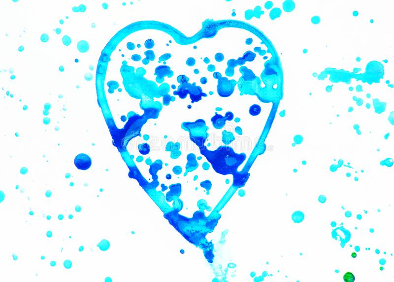 Heart with splashes of bright blue, blue and purple watercolor on white background, cute, pattern, hand painted. Love illustration freehand symbol valentine stock photos