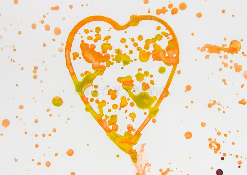 Heart with splashes of gold and orange watercolor on white background, cute, pattern, hand painted. Love illustration freehand symbol valentine blots yellow stock photos
