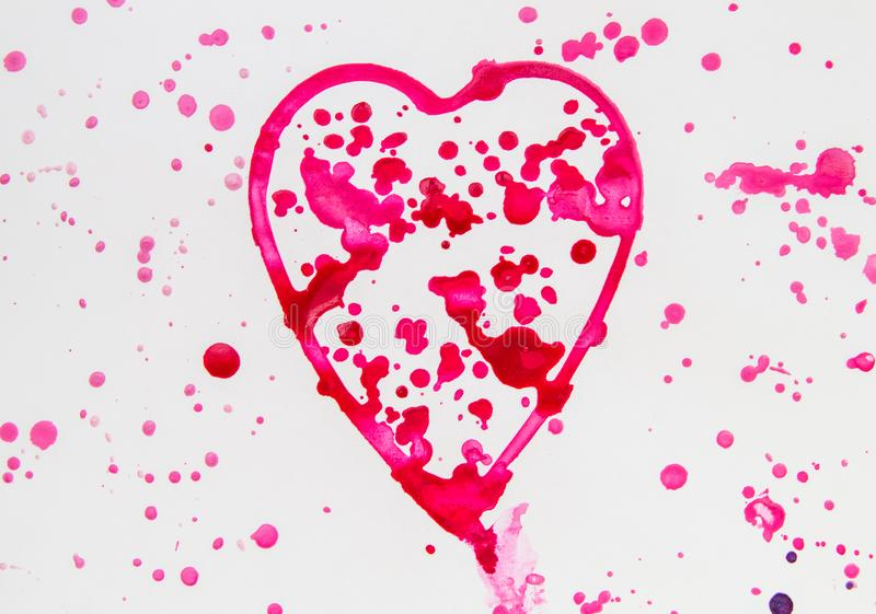 Heart with splashes of red watercolor on white background, cute, pattern, hand-painted. Love illustration freehand symbol valentine blots pink shape brush card royalty free stock image