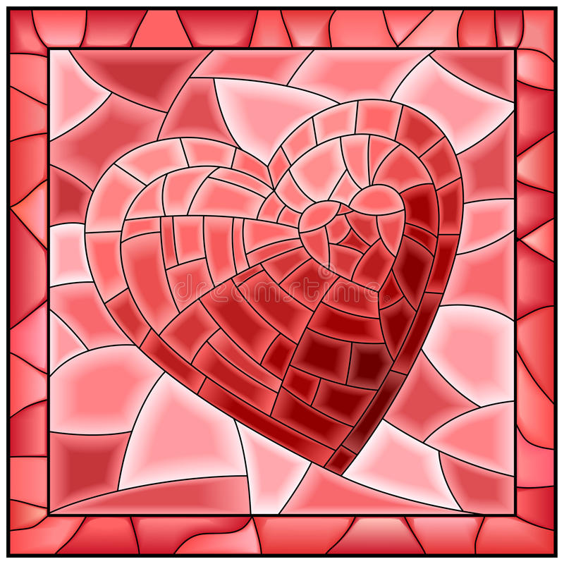 Heart stained glass window with frame. vector illustration