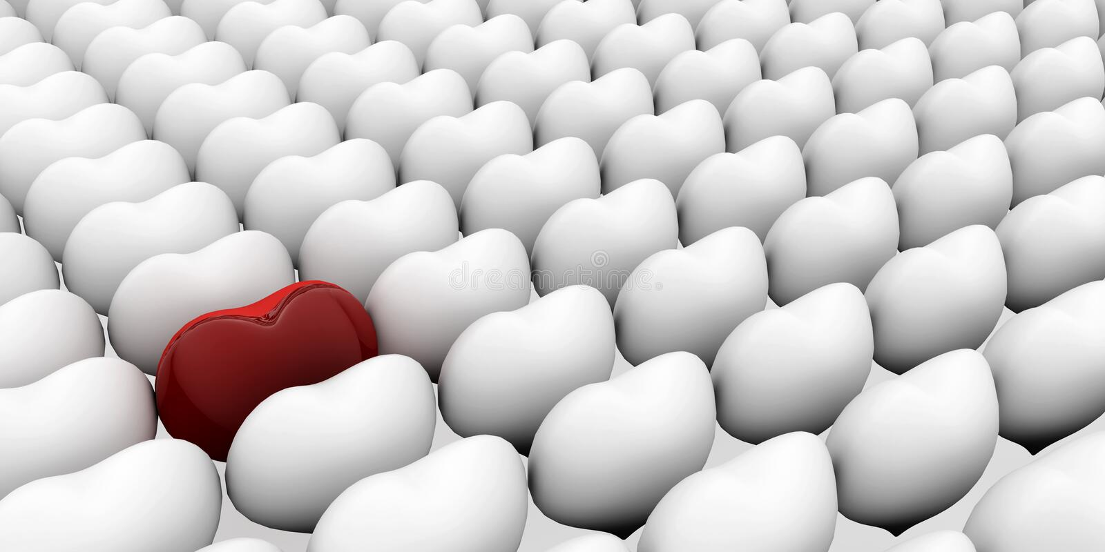 A heart standing out from the crowd. 3D love concepts vector illustration