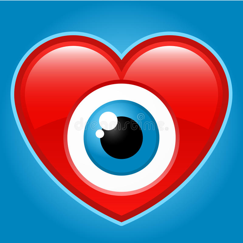 Download Heart with staring eye stock vector. Image of icon, watch - 9522467