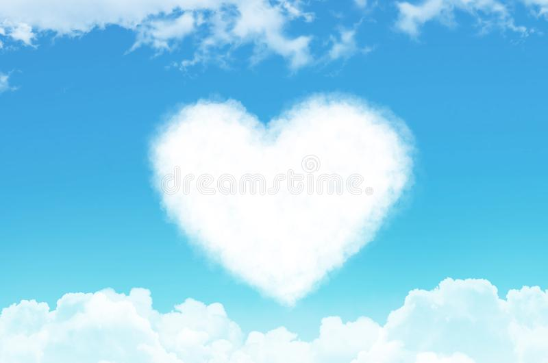 Heart of steam and cloud in the sky among other clouds. royalty free stock photography