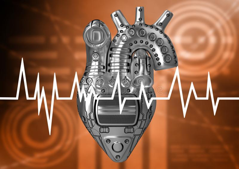 Heart of steel, concept of prevention of heart problems. Cardiac rate assessed by electrocardiogram examination royalty free illustration