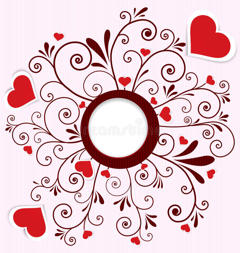 Heart stickers swirl frame vector. Vector illustration of paper crafted red hearts on swirl flourish textured background with round frame vector illustration
