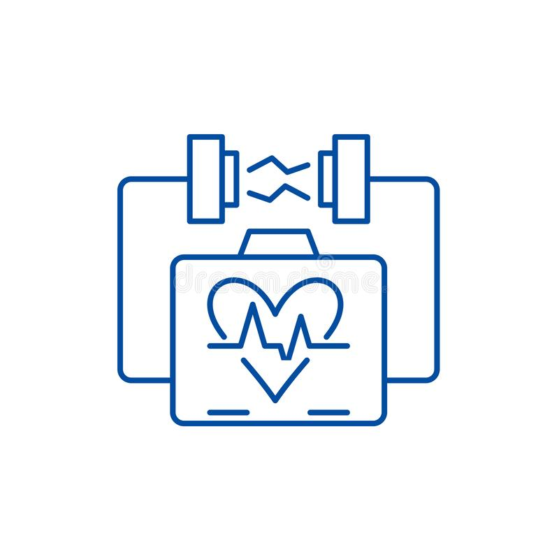 Heart stimulation line icon concept. Heart stimulation flat  vector symbol, sign, outline illustration. stock illustration