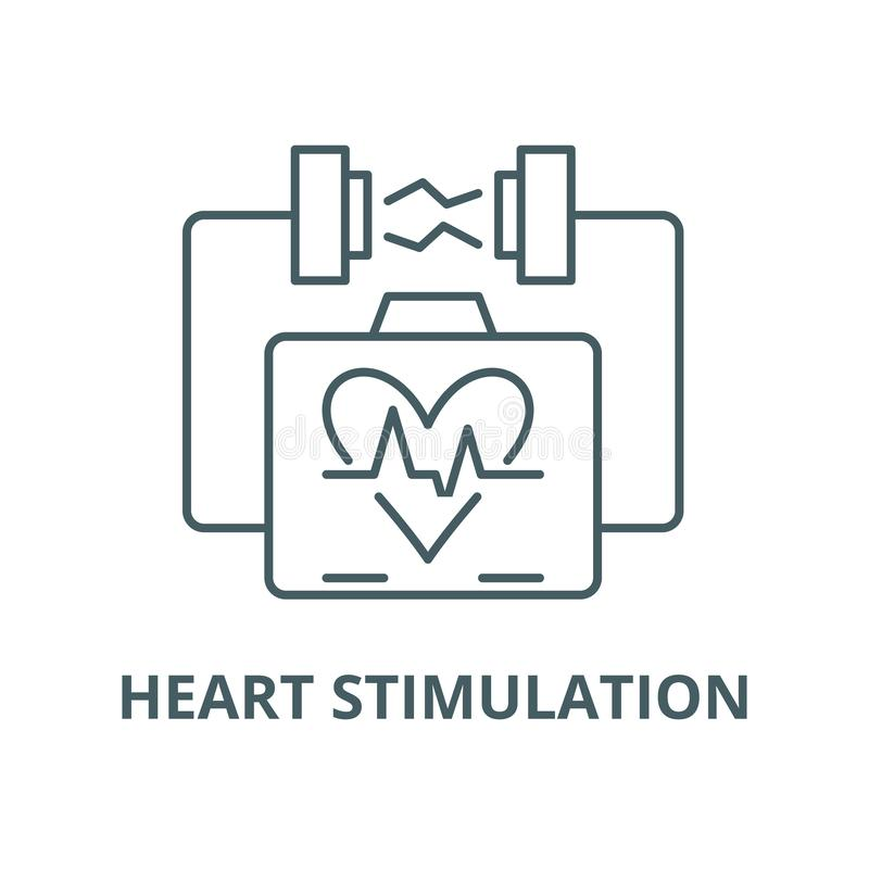 Heart stimulation vector line icon, linear concept, outline sign, symbol royalty free illustration