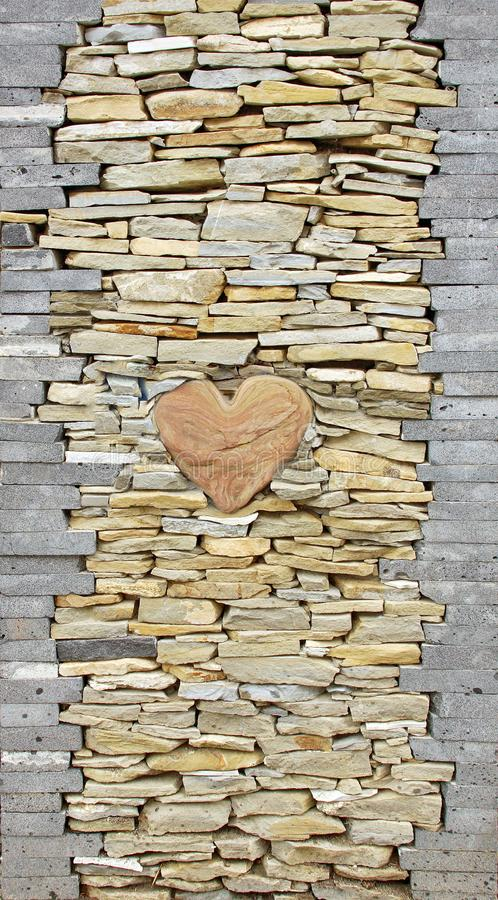 Heart of stone wall pieces natural rock stone limestone Sandstone texture background light. Rock texture. Exterior element stock images