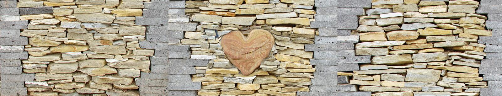 Heart of stone wall pieces natural rock stone limestone Sandstone texture background light. Rock texture. Exterior element stock photography