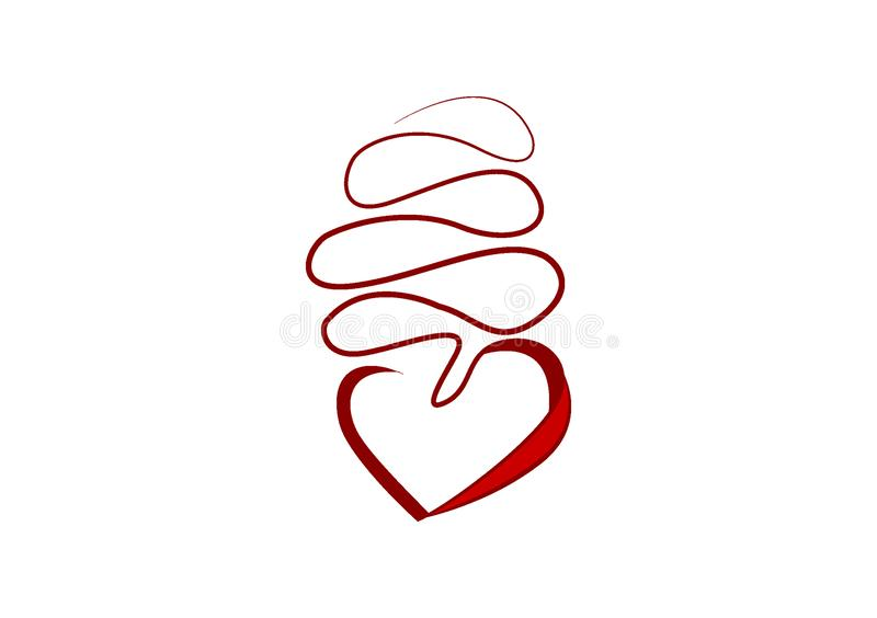 Heart on a string for icon or logo. Use with text layouts vector illustration