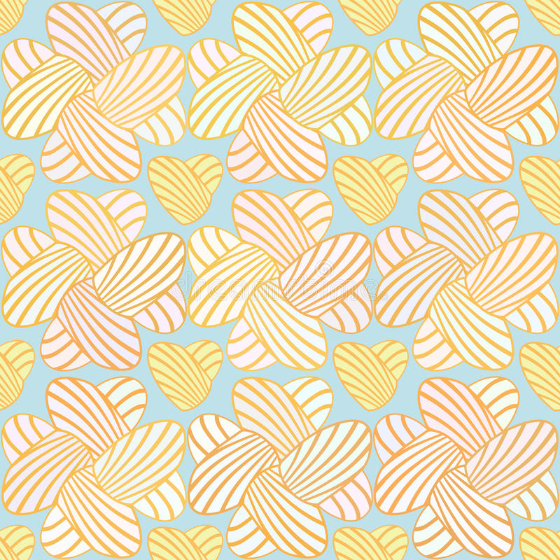 Heart stripes seamless background. Vector pattern. Color abstract seamless pattern on blue background. Vector royalty free illustration