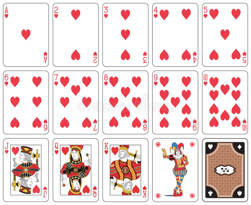 Heart suit large index. Isolated heart suit Playing cards, joker and back vector illustration