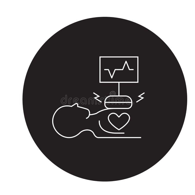 Heart surgery black vector concept icon. Heart surgery flat illustration, sign. Symbol royalty free illustration