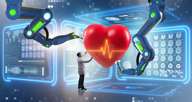 The heart surgery done by robotic arm. Heart surgery done by robotic arm stock images