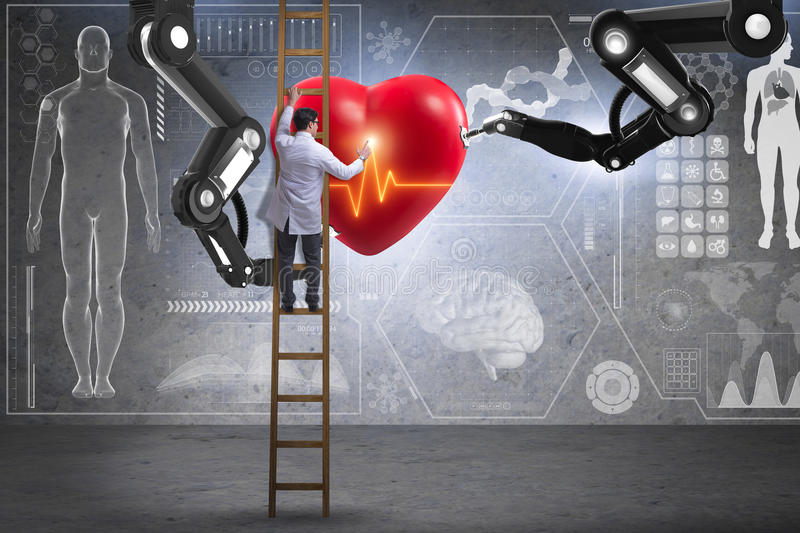 The heart surgery done by robotic arm. Heart surgery done by robotic arm royalty free stock photography