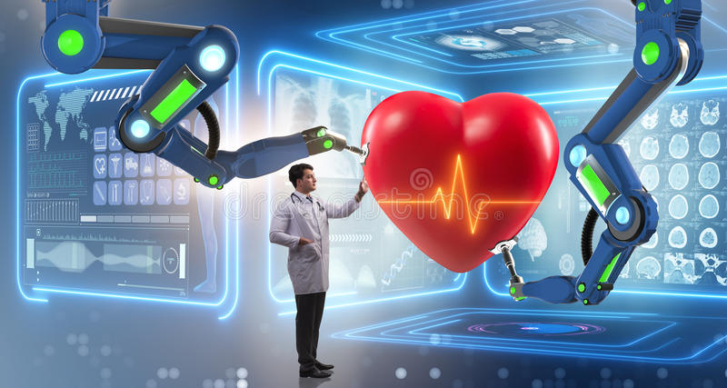The heart surgery done by robotic arm. Heart surgery done by robotic arm royalty free stock photo