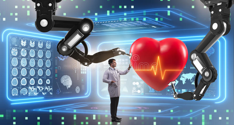 The heart surgery done by robotic arm. Heart surgery done by robotic arm stock illustration
