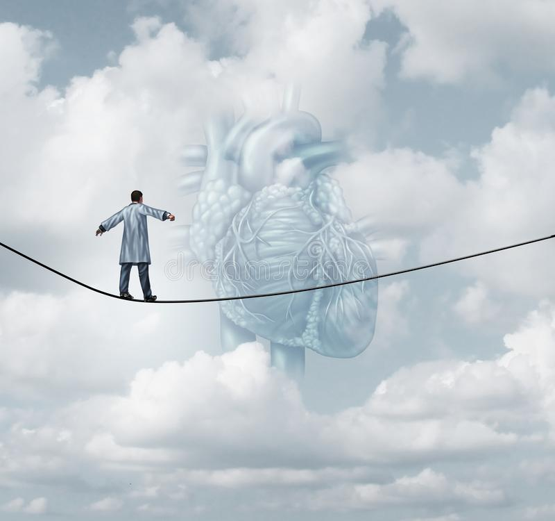 Heart Surgery Medical Risk. As a cardiologist or surgeon doctor walking on a tight rope high wire as a pulmonary cardiovascular health care insurance concept in stock illustration