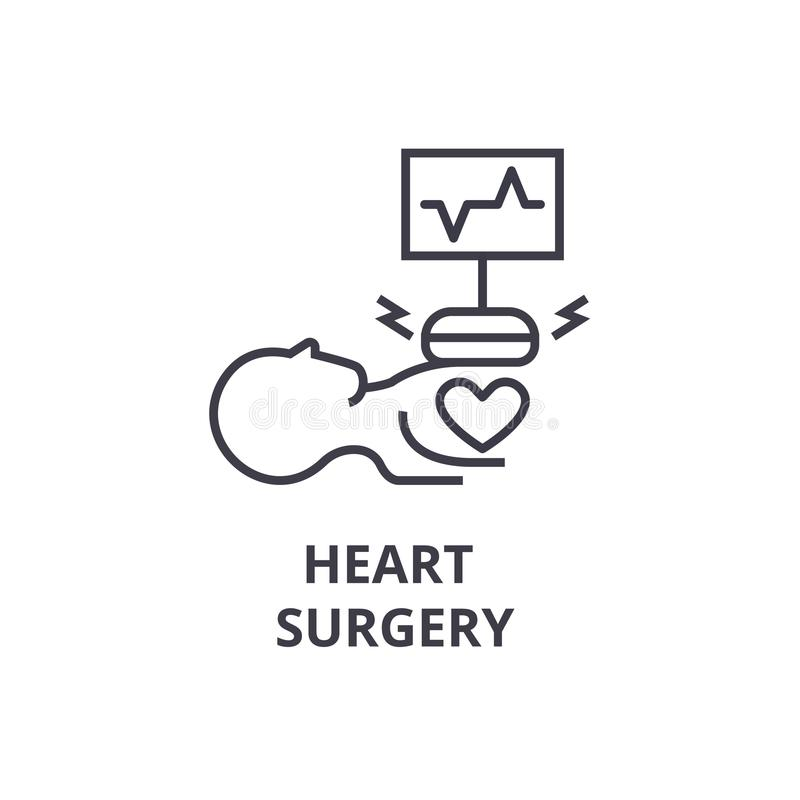 Heart surgery thin line icon, sign, symbol, illustation, linear concept, vector royalty free illustration