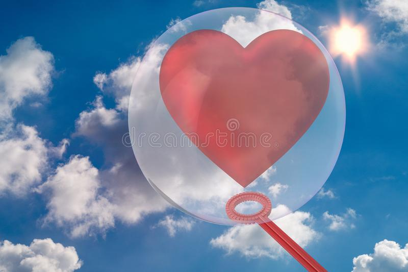 Heart is surrounded by a soap bubble 3D-Illustration. Red heart is surrounded by a soap bubble 3D-Illustration have fun royalty free stock photography