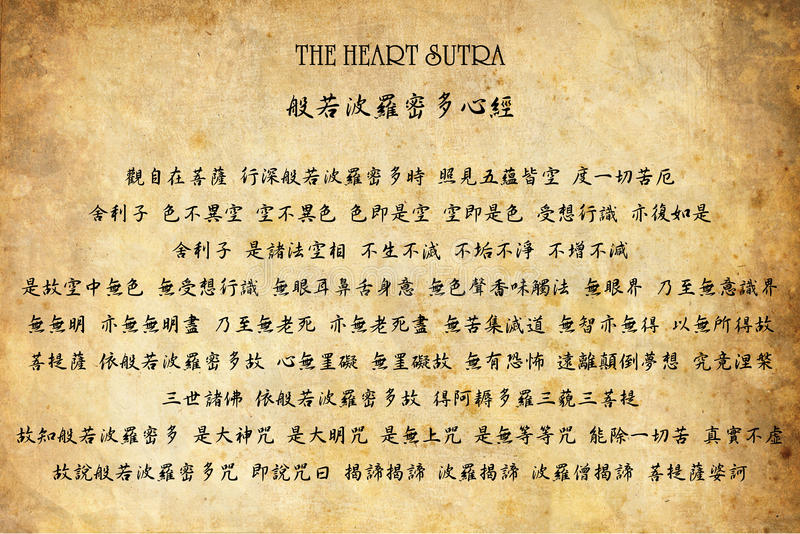 The Heart Sutra (Chinese) royalty free stock photography